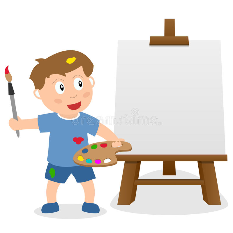 Little Boy with Easel Canvas & Paintbrush stock illustration
