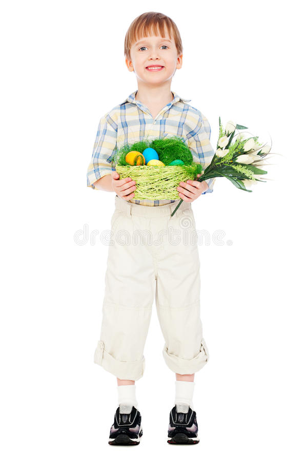 Download Little Boy With Easter Eggs And Flowers Stock Photo - Image of modern, male: 24283860