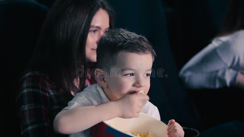 Little Boy Eat The Popcorn In Cinema Stock Video Video Of Happy Projector 86709383