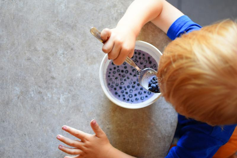 Little boy eating blueberries with milk royalty free stock image