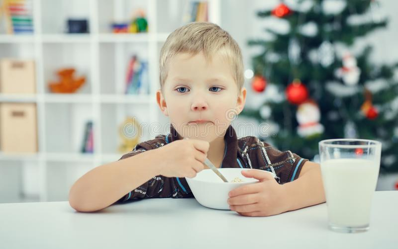 Little cute boy eating breakfast on the eve of the new year. Christmas tree in background. royalty free stock images
