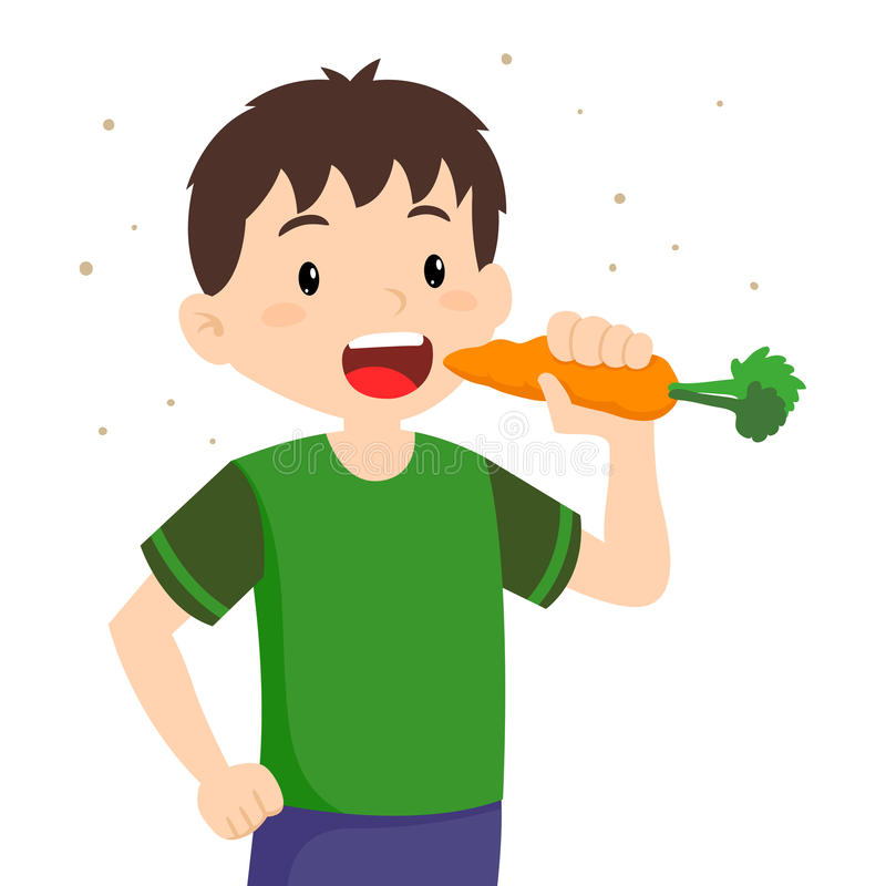 Little Boy Eating Carrot royalty free illustration