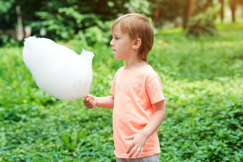 Little boy eating the cotton candy at park. Summer holidays. Happy child with sweet cotton candy. Sunny summer day. Happy royalty free stock photos