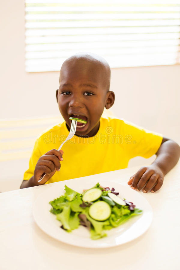 Little boy eating salad. Adorable little boy eating salad at home royalty free stock images