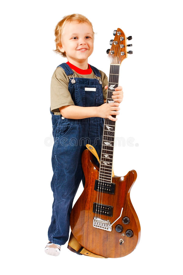 Little boy with electric guitar