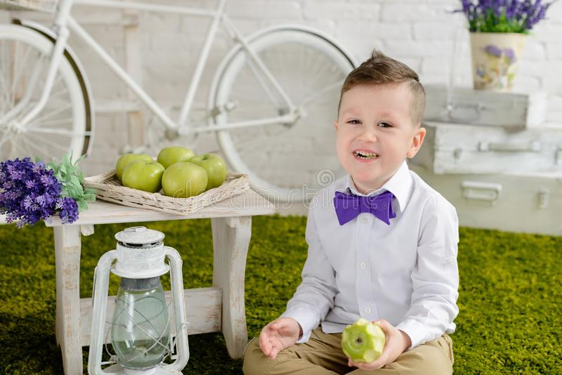 Little boy in elegant clothes. It can be used as a background. Little boy in elegant clothes. Provence style. It can be used as a background royalty free stock photo
