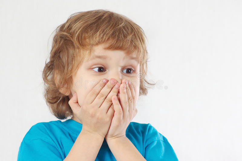 Little boy with the emotion of wonder stock images
