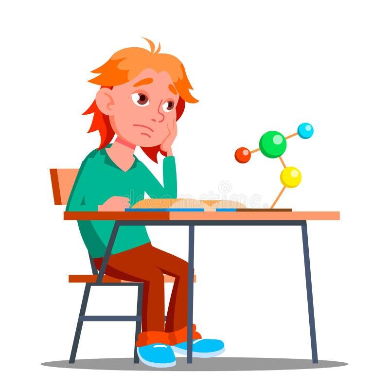 Little Boy en la clase de química, vector de la física boring Ilustración aislada ilustración del vector