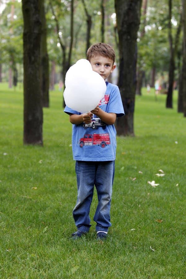 Little Boy en parc Mange la sucrerie de coton photographie stock