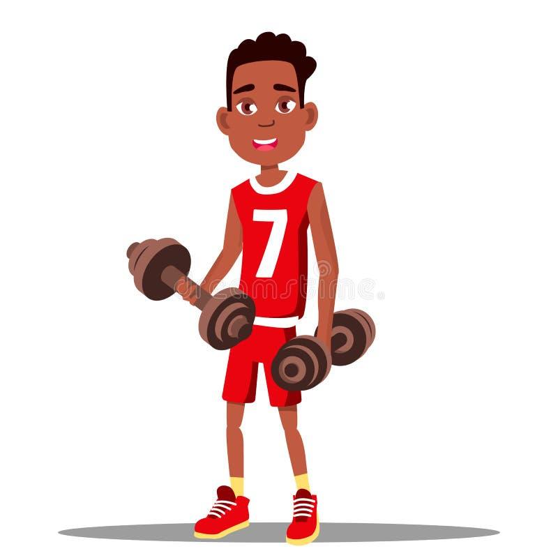 Little Boy está ejercitando con una pesa de gimnasia en su vector de las manos Deporte Sano Ilustración aislada ilustración del vector