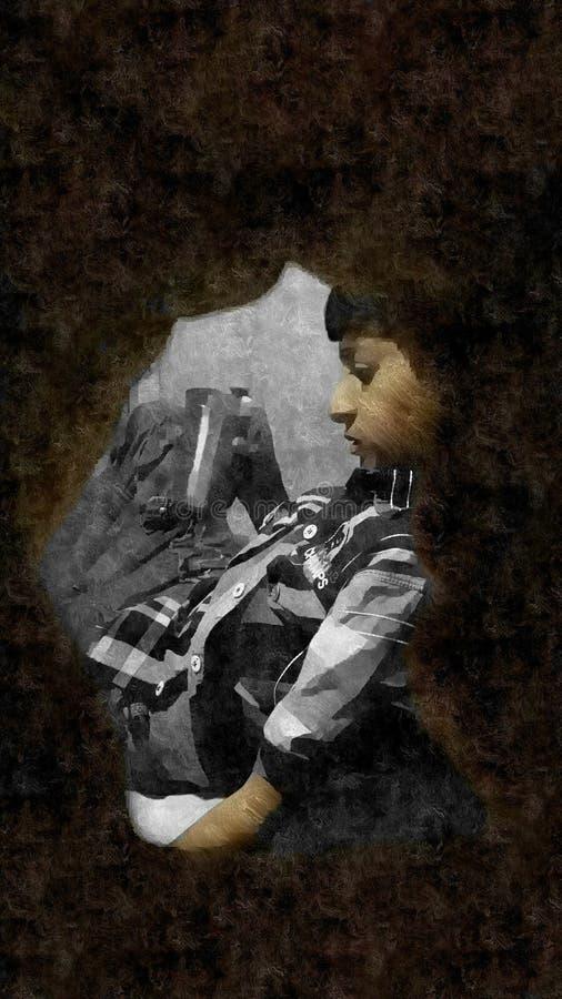 Little Boy et un verre de l'eau image libre de droits