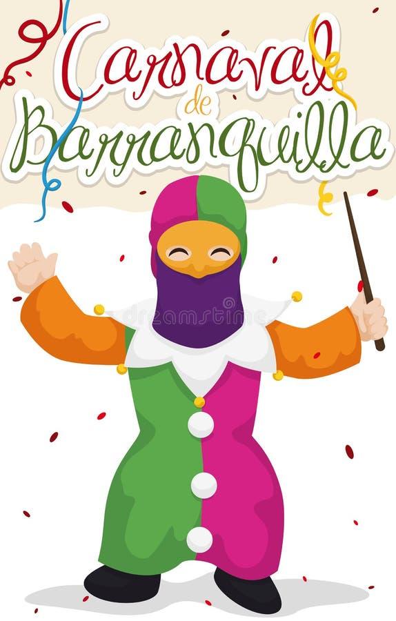 Little Boy förställde som Monocuco i karnevalet för Barranquilla ` s, vektorillustration vektor illustrationer