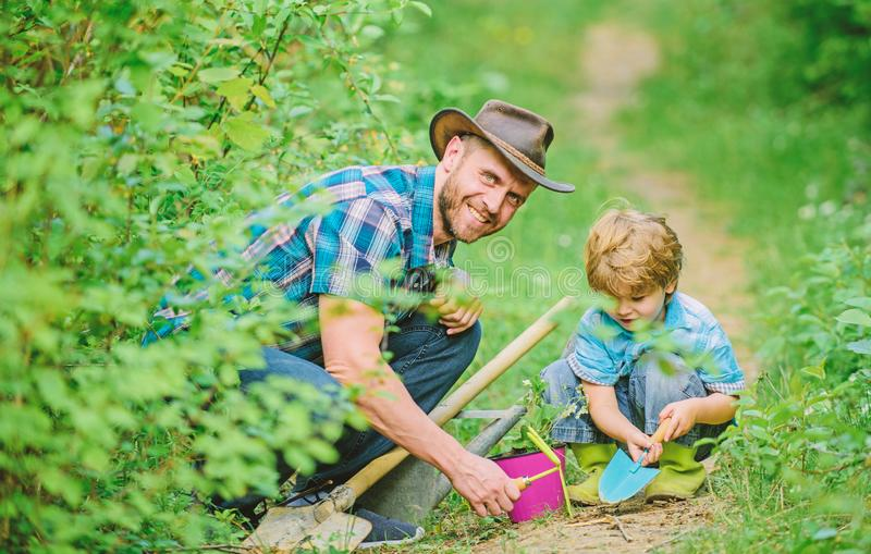 Little boy and father in nature background. Gardening tools. Gardening hobby. Dad teaching little son care plants. Spring gardening routine. Planting flowers royalty free stock image