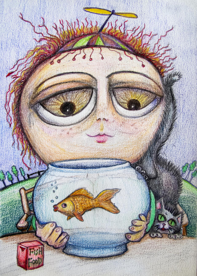 Little boy with fish cartoon drawing royalty free stock image