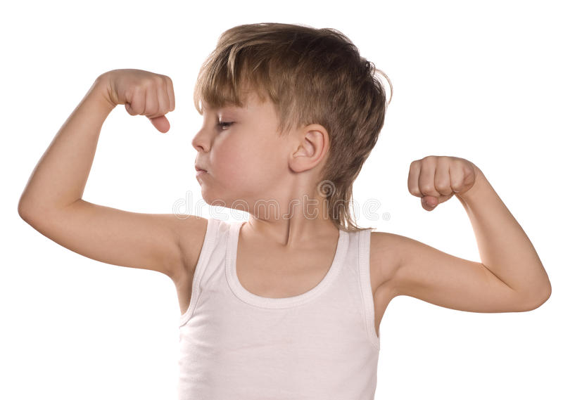 Little boy flexing biceps. Portrait of little european boy flexing biceps. Beautiful caucasian model. Isolated on white background royalty free stock images
