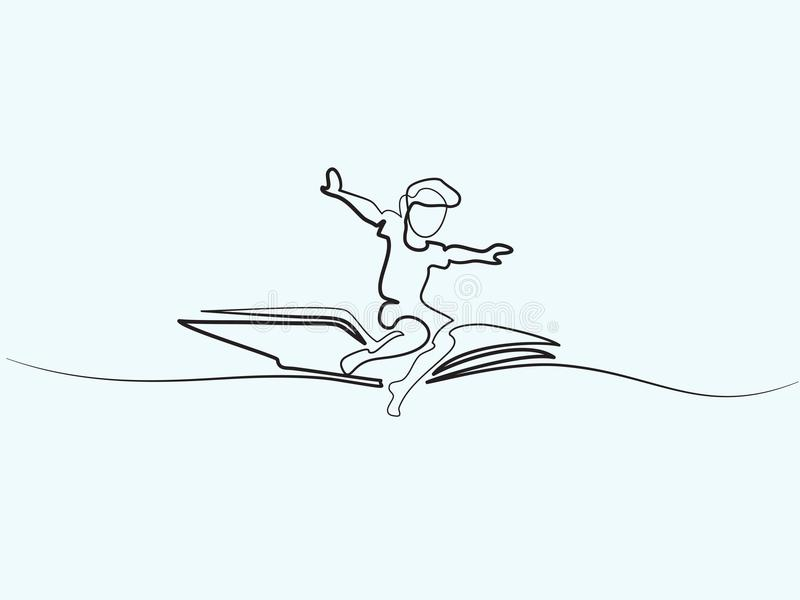 Little boy flying on book in the sky vector illustration