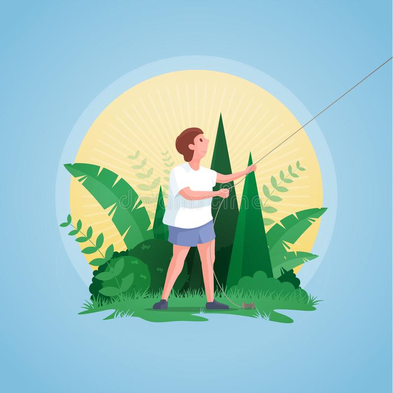 Little boy flying kite royalty free illustration