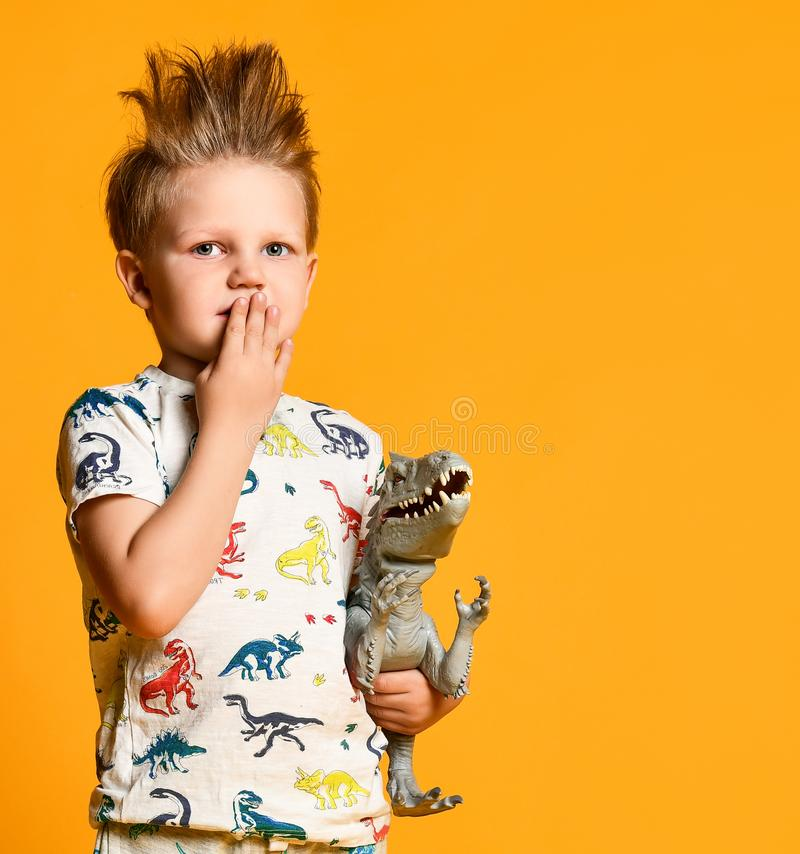 Little boy with a funny, disheveled hair holds the toy plastic dinosaur as a portrait. royalty free stock photos