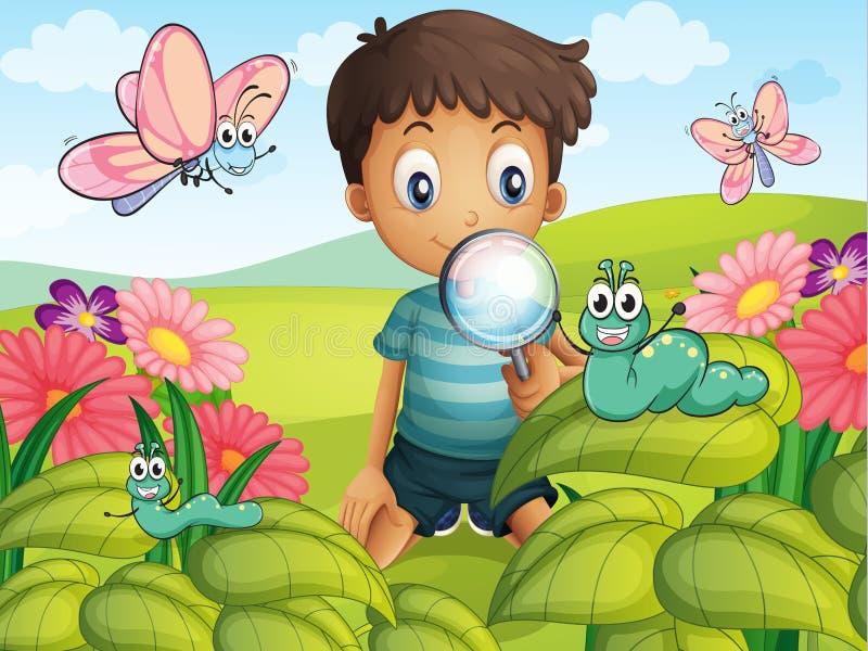 A little boy in the garden vector illustration