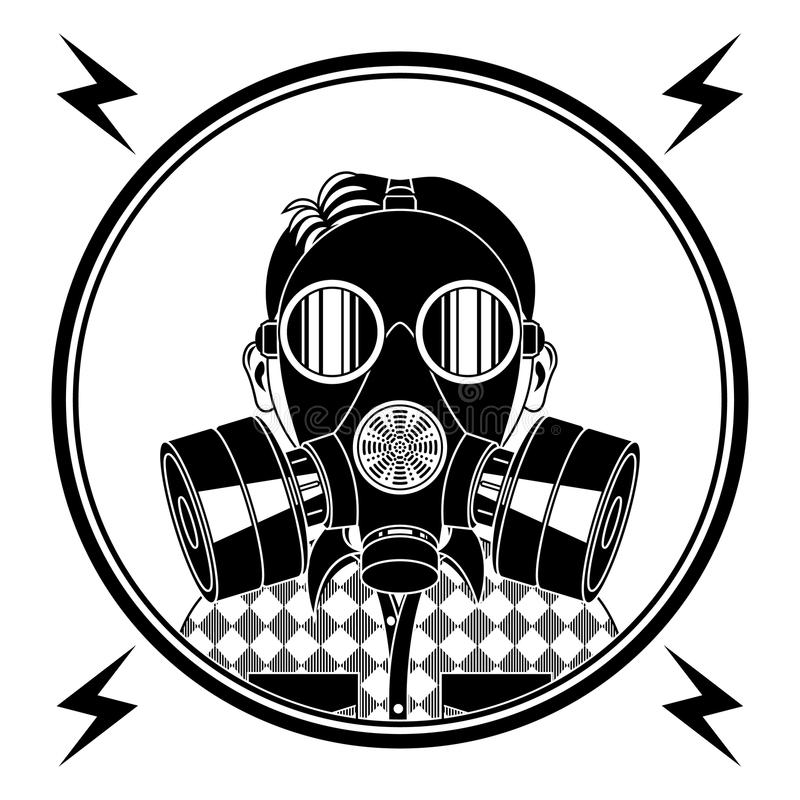 Little boy in a gas mask. royalty free illustration