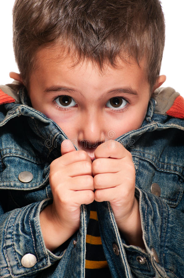 Little boy getting cold stock photo