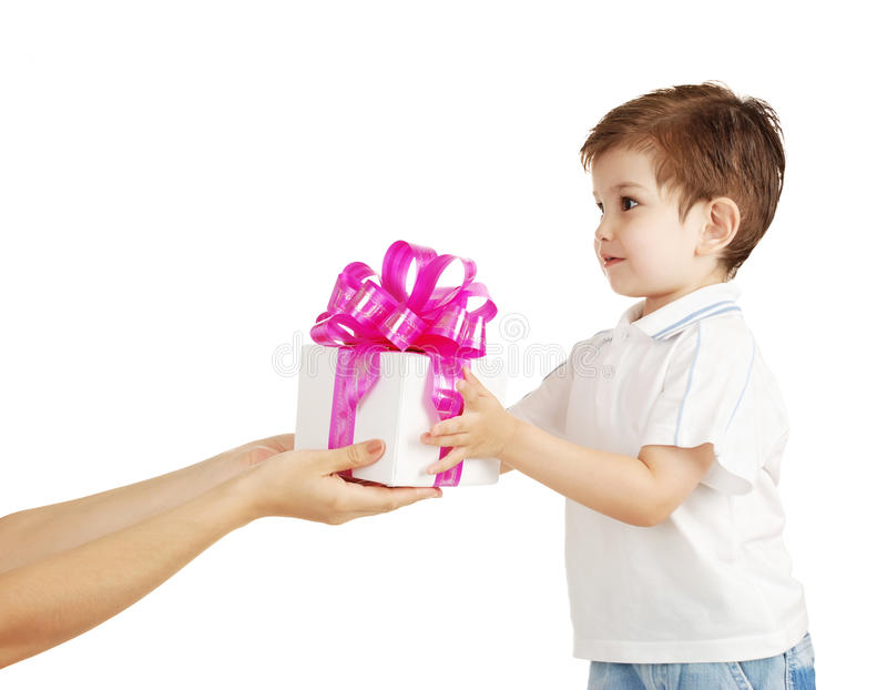 The Little Boy With A Gift In A Hands Royalty Free Stock Photo