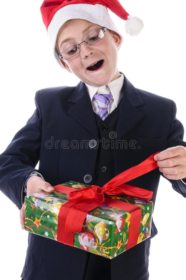 Little boy with a gift stock images