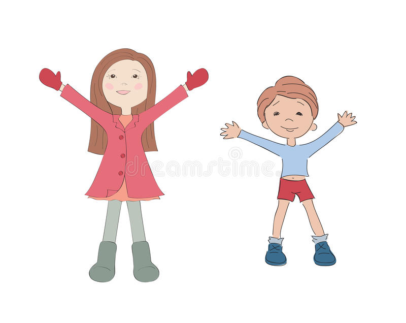 Little boy and girl. Isolated royalty free illustration