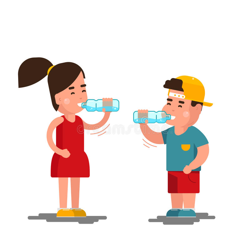 Little boy and girl drinks water vector illustration. Kids drinking clean isolated on white background. Little boy and girl drinks water vector illustration stock illustration