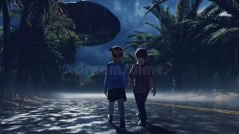 A little boy and girl at dusk walk along the wet highway, over which an alien UFO flies. For sci-fi, futuristic, sci-fi vector illustration