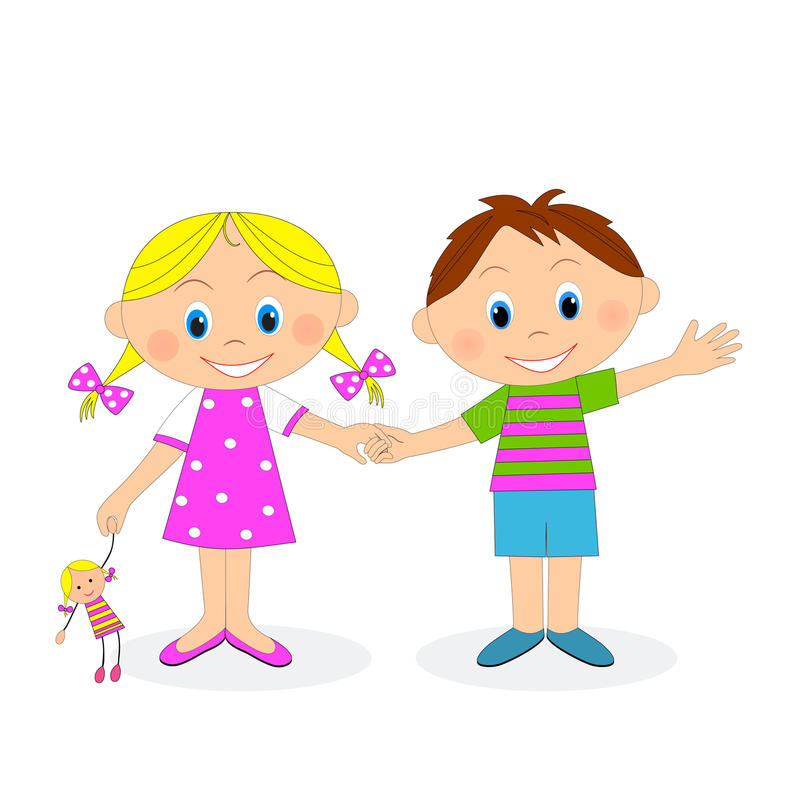 little boy and girl holding hands and waving stock vector rh dreamstime com Holding Hands Clip Art Anime Friends Holding Hands
