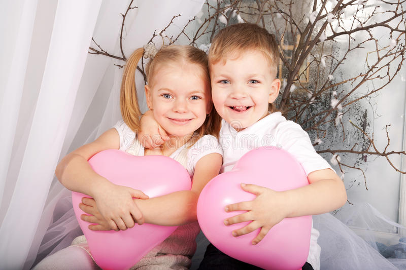 Little boy and girl in love. royalty free stock photos