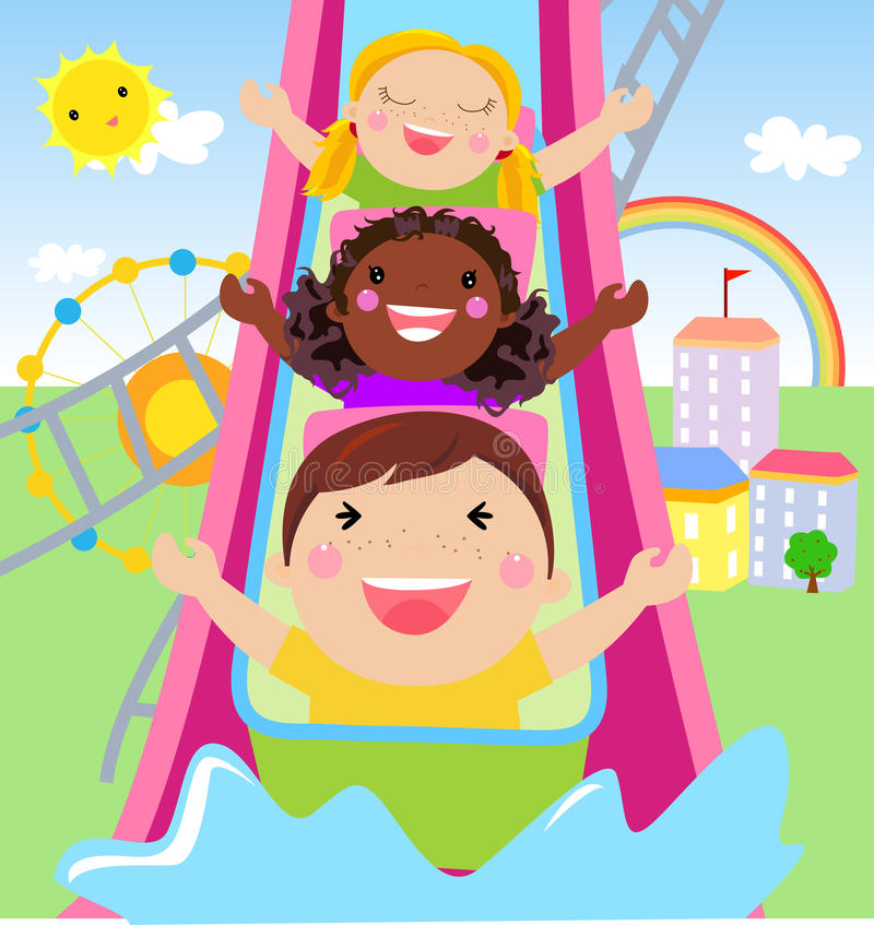 Little boy and girl playing time royalty free illustration