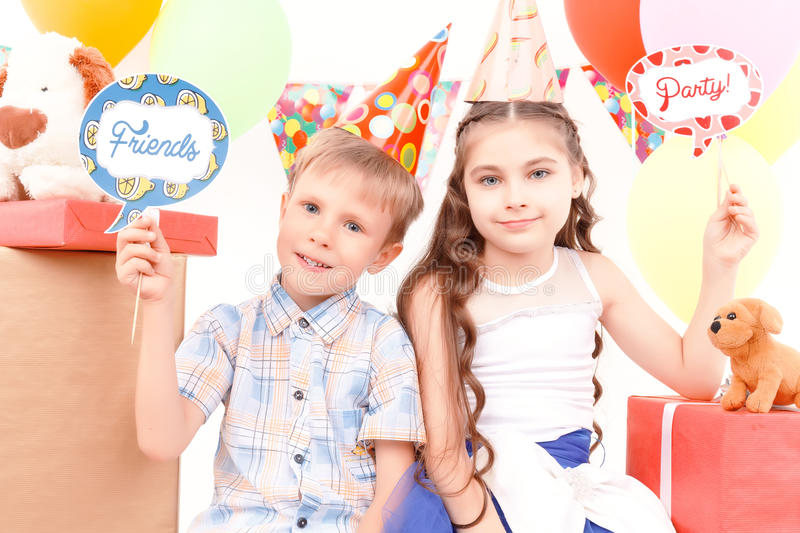 Little Boy And Girl Posing During Birthday Party Stock Image Image