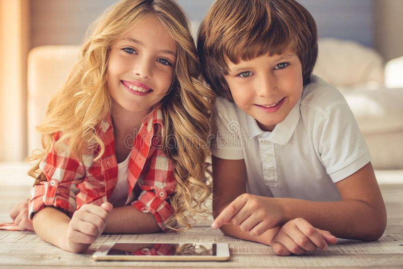 Little boy and girl royalty free stock photos