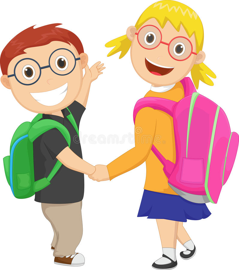 Little boy with girl walking to school carrying a bag pack royalty free illustration