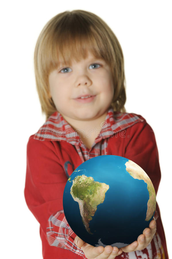 Download The Little Boy With The Globe Stock Image - Image of human, earth: 13497981