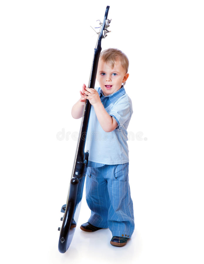Download Little boy with guitar stock photo. Image of play, performer - 19974582