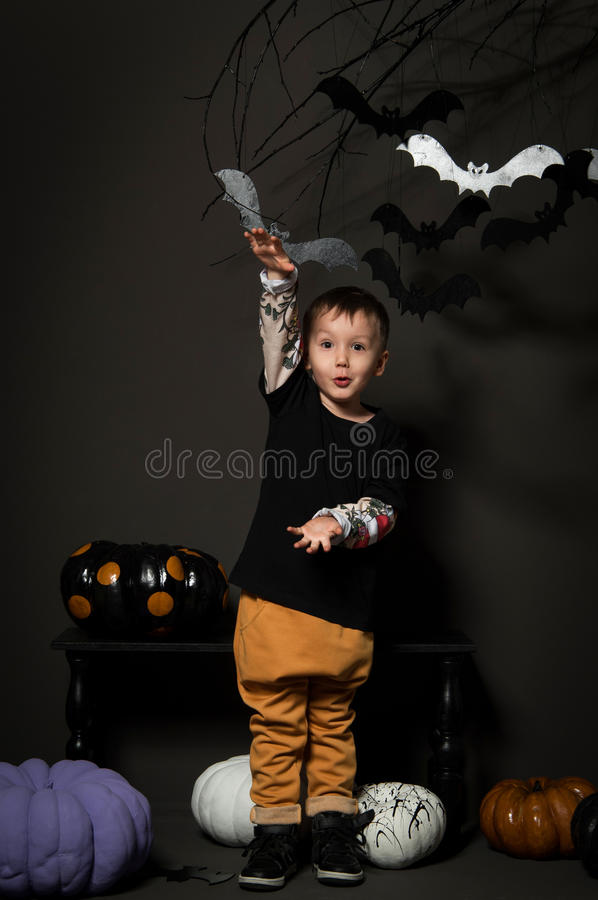 Little boy on halloween party stock photography