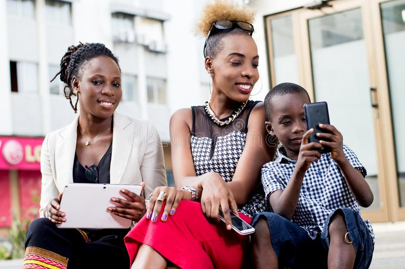 Group of people with mobile phones. royalty free stock images