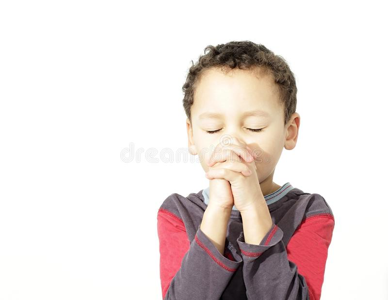 Little boy with hands together praying stock image