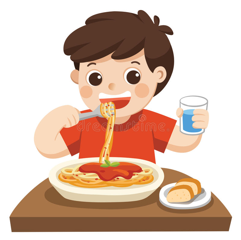 A Little boy happy to eat Spaghetti. royalty free illustration