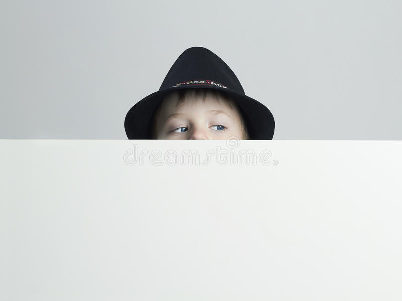 Little boy in hat.funny child. Your text here royalty free stock photos