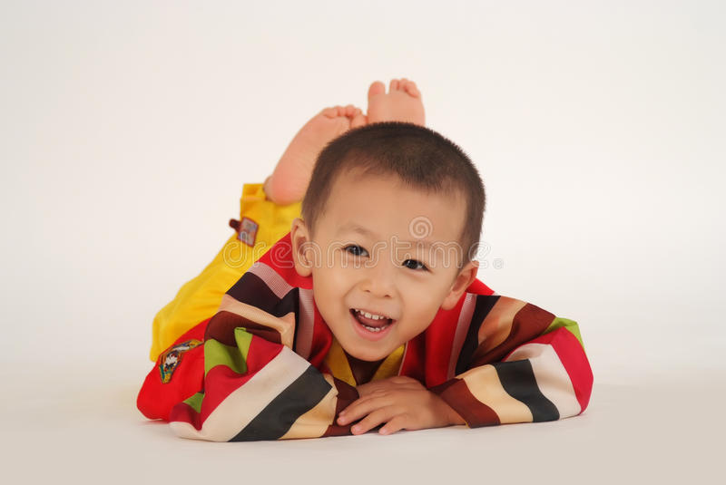 Little boy is having fun stock images