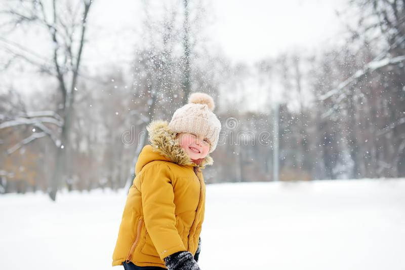 Little boy having fun in the snow. Cute little boy having fun in the snow. Outdoors winter activities for kids royalty free stock photography