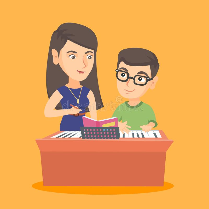 Little boy having a piano lesson with a teacher. stock illustration