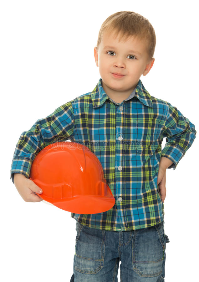 Little boy a helmet royalty free stock image