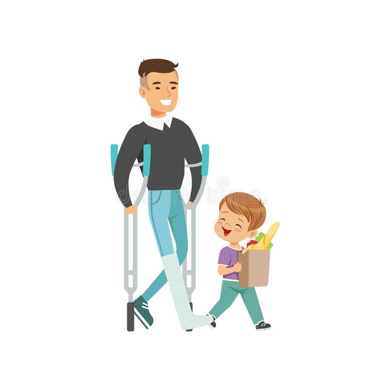 Little boy helping disabled man carry shopping bag, kids good manners concept vector Illustration on a white background. Little boy helping disabled man carry stock illustration