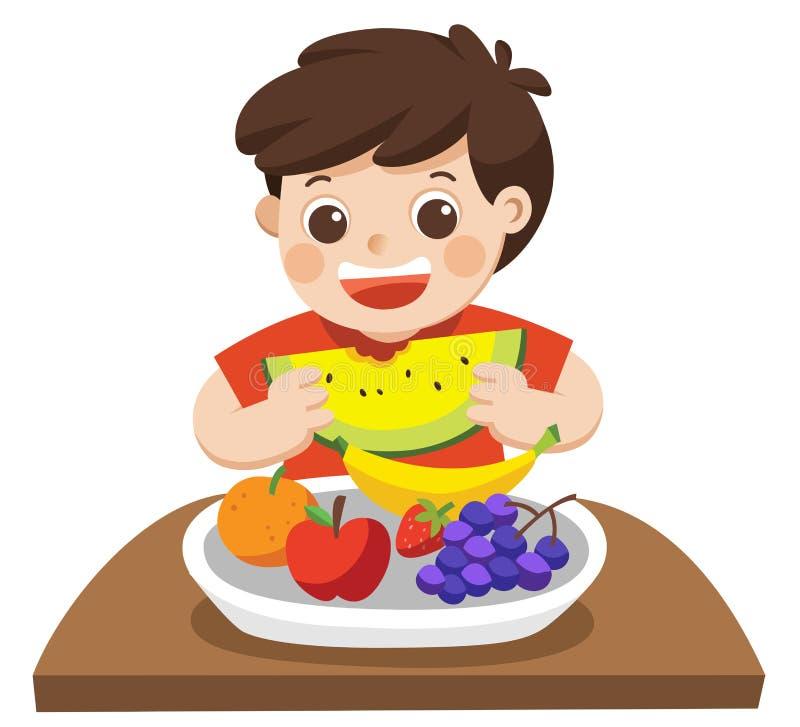 Little Boy heureux de manger Friuts Il aiment Friuts illustration libre de droits