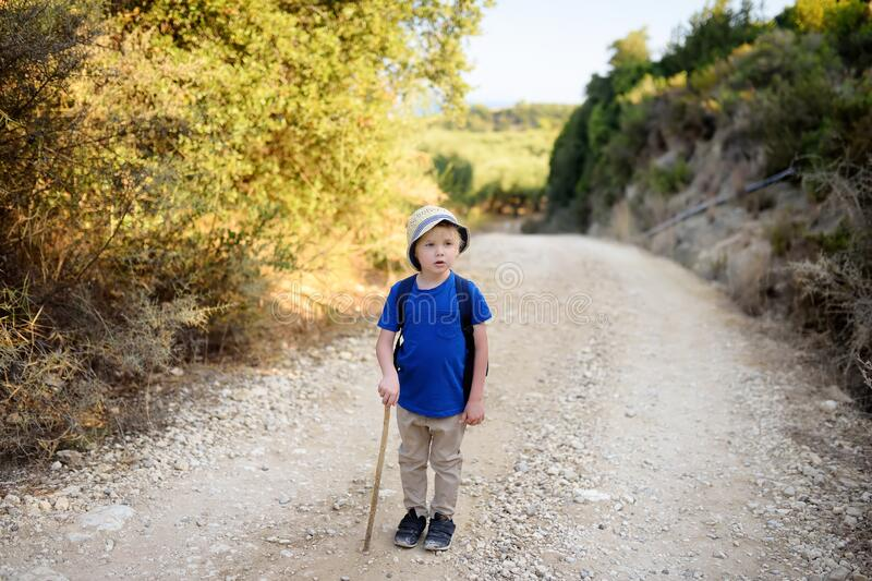 Little boy is hiking in Greece, west Peloponnese stock images